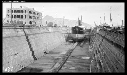 Steamship in dry dock