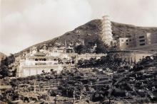 View of Tiger Balm Gardens taken from Victoria Park, Hong Kong, China, 1947