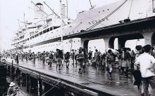 Gurkhas disembarking the Nevasa in 1960