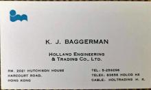 business card Karel Baggerman, Holland Engineering & Trading Co Ltd, Hong Kong