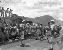Landing party disembarking from HMCS Prince Robert during the liberation of Hong Kong