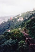 HK from Victoria Peak showing the tracks of the Funicular