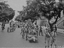 Japanese troops on way to camp