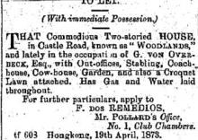 Woodlands - to let 1873