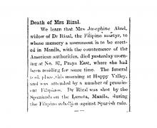Death of Mrs Rizal