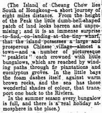 1926 Cheung Chau (Excerpt from Hong Kong Daily Press)