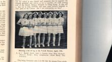 """Showing a bit of leg at the V.A.D. review, April 1941"""