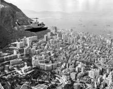1970s Hong Kong Air Helicopter over Hong Kong