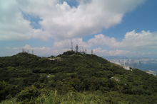 View towards ex-Eyrie, Belvedere, Peak Weather and Signal Stations