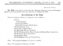 1924 - Re-numbering of the Peak