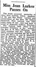 Miss Jean Larken burial, The Hong Kong Telegraph, 1940-12-31 p2