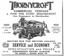 Hong Kong Hotel Garage advert-Thornycroft Bus