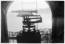 Jim's range finder at top of Signal Hill tower looking east to harbour entrance