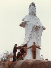 Kwan Yin statue, squatter area hill, Stanley, late 1970s