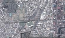 Mongkok sportsground 1930 map overlaid on Google Earth