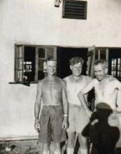 Sgt Akeroid flanked by two Other RAF