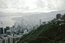 View from the peak on Wan Chai and Causeway Bay
