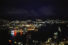 Night view from the peak: Victoria Harbour and Kowloon (1980)