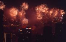 1997 - fireworks over the harbour from Barker Road