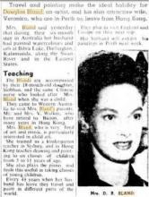 1953 – Veronica Bland promoting her husband's - renowned H.K. artist 白連 - paintings in Perth, W.A.jpg