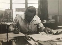 1970 - Paul D. Alderton D.S.C., founder and Managing Director of Secondary Raw Materials (SRM) Ltd, working at his desk, Printing House, Duddell St..jpg