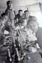 1950 Christmas dinner under canvas