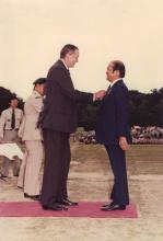 28 April 1979 - Stephen WONG Yuen Cheung with Lord MacLehose of Beoch (25th Gov of HK)