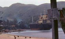 1983 - shipwreck in Mui Wo following Typhoon Ellen