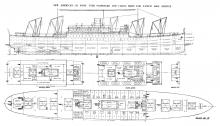 Plan of 535 ft. Passenger & Cargo Ship- Pacific Mail Service