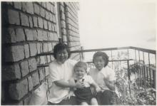 Ah Hing + Ah Moy on the balcony of our flat.