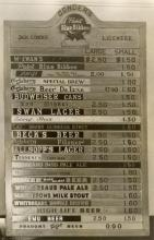Beer prices Jack Conders Bar 1957.