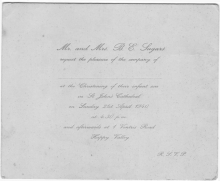 Christening Invitation 21st Apr 1940