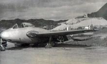 Vampire jet, the first R.A.F. jet to land at Kai Tak.