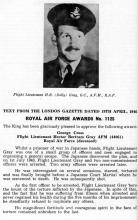 Flight Lieutenant H.B. (Dolly) Gray G.C., A.F. M. ,R.A.F.