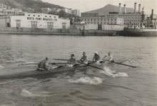 Rowing past North Point Power Station 1