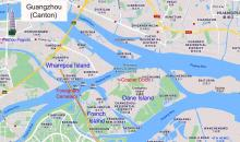 """. Modern-day map of Guangzhou showing the site of the """"Whampoa"""" anchorage,"""
