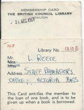BRITISH COUNCIL library ticket
