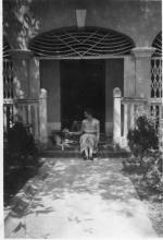 4 Kent Road, Kowloon Tong, 1955. Mother with dogs