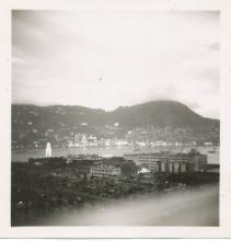 Veiw of TST towards the peak dusk before Coronation Fireworks 1953.jpg
