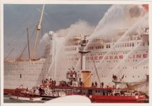 RMS Queen Elizabeth on fire