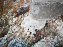 Rusting bolts at the corner of the north position