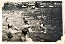 'The Swimming Pool', Sunset Peak, Lantau Island, August 1948. Furthest right may be Gwelma Goodfellow, wife of the Hong Kong Observatory's naval representative. Julian Crozier is centre, back towards the camera. Others unknown. Copyright Crozier family.