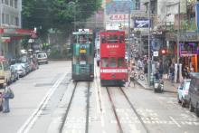 Trams on Johnston Road near Hennessy Road