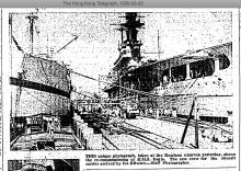 Kowloon Wharves-HMS EAGLE aircraft carrier berthed-HK Telegraph-05-08-1939