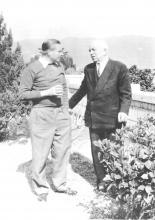 1962 - Maj. Gen. M.A. Cohen (r.) with his friend, China trader Paul D. Alderton, at the latter's home, Stanley, H.K., Feb. 1962.jpg