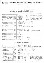 Peking-Mukden Railway - Timetable for Connections to Europe