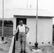 Ping Shan new hut Cpl Mick Brophy c1952.
