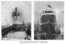 "S.S."" Rhexenor"" Bow & Stern of ship pre-launch"