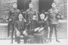 T.A. Hughes far right of picture with his brothers William (Bill) and Richard (Dick)