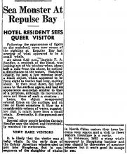 Sea Monster at Repulse Bay-HK Telegraph-1936